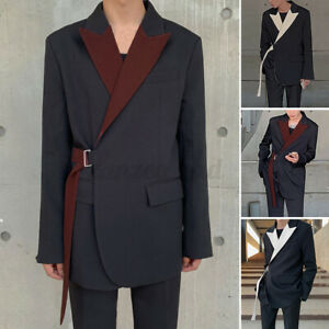 Mens Chic Jackets Long Sleeve Formal Party Wedding Business Blazer Lace Up Coats