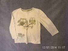 Girls 3-4 Years - Cream Long Sleeve Top with Sparkly Owls Motif - TU