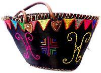Handwoven & Leather Strap Shopping French Market Basket Bag Moroccan Black