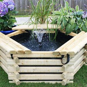 50 Gallon Norlog Raised Garden Patio Pond & Water Feature | Optional Pump