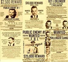 SET OF (6) VINTAGE WANTED GANGSTER POSTERS DILLINGER MOBSTER FBI MAFIA MURDER