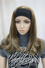 Light Brown Blonde Mix 3/4 half wig with headband Women's Daily Wigs TLG042