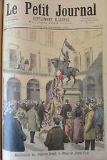 MANIFESTATION STATUE JEANNE D ARC NOUVEAU ROI DAHOMEY GRAVURE PETIT JOURNAL 1894
