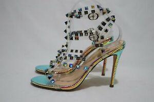 FASHIONNOVA Size 8 Womens Open Toe Glitzy 2x T Top & 2x Buckle Sandal Heels