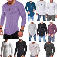 Herren T-Shirt Oval Langarm Shirt Oberteile  Baumwolle Slim Fit Tops Bluse Hemd