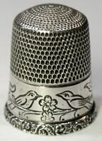 "Antique Simons Bros. Sterling Silver Thimble  PA German ""Pair Of Birds""  C1920s"