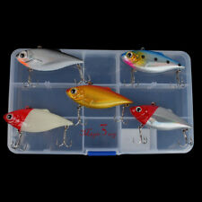 Lot 5 Fishing Hard Lures Crankbait Mini Bass Trout Pike Tackle Hook Kit W/ Box