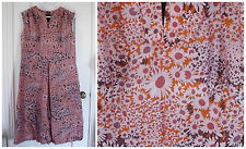 Thai Silk Dress Womens Vintage Floral Asian Style Orange Brown Purple Lined XL