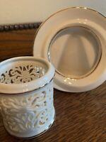 Lenox Ivory Porcelain Pierced Tealight / Votive Holder & Frame 🖼! EUC