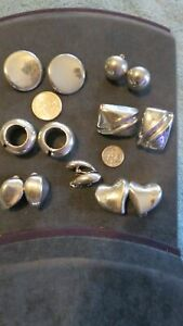Vintage Lot Of 7 Pairs Earrings Scrap or Wear Mostly Mexico 100 grams