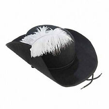 Black Felt Three 3 Musketeers Hat with White Feather Plume Costume Accessory