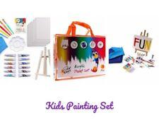 Juego De Arte Para Niños Kit De Pintura Acrilica Pinceles Paletas Kids Paint