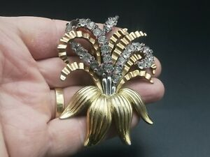 Vintage Pennino flower plume, gold plated fur pin clip, ruby & clear rhinestones
