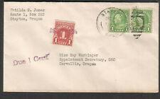 1935 postage due cover Matllda Jones Slayton OR to OSC Corvallis Oregon