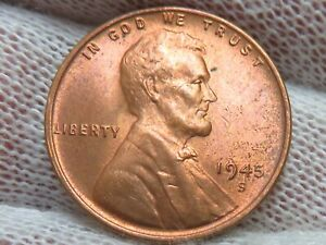 1945 S Lincoln Wheat Cent Penny Uncirculated BU and FREE shipping