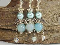 7 Bastelset Engel DIY Schutzengel blau mit Herz Engel Anhänger Perlenengel