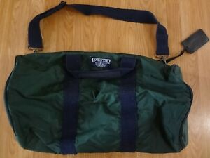 Vintage LANDS END Green Duffle Bag Made in USA Circle Toggle ZIPPER 22x10 1/2