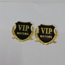 1 Pair of MOTORS VIP Golden Metal Sport Racing Badge Sticker Logo Car suv Emblem