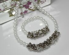 IVORY GLASS PEARL JEWELRY NECKLACE BRACELET SET FOR BRIDE BRIDESMAID FLOWER GIR