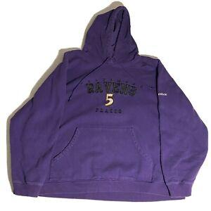 Reebok Baltimore Ravens Joe Flacco Purple Pullover Hoodie Mens Extra Large XL