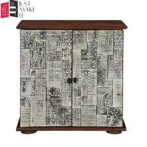 MADE TO ORDER Hand Carved Indian Handmade Solid Wood Brown Sideboard Floral