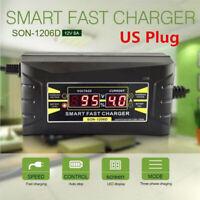 12V 6A Auto-Motorrad-Smart schnelles Blei-Säure-Ladegerät LCD-Anzeige US Plug