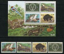 SRI LANKA 1994 Tiere Naturschutz Animals 1063-66 + Block 56 ** MNH