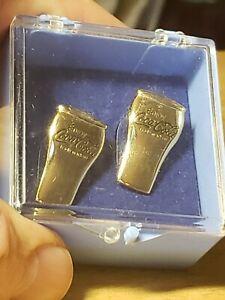 (Rare) Coca-Cola Cufflinks 3D Classic Soda Glass Cuff Links Gold Tone