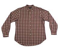 Polo Ralph Lauren Dress Shirt Mens Large Long Sleeve Red Beige Plaid