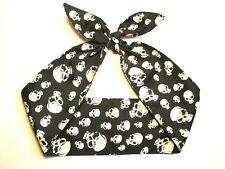 SKULL skulls Head Scarf Headband Wrap Rockabilly Pinup Black white  light weight