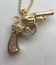 Betsey Johnson Necklace PISTOL Gun PINK Handle Gold Crystals