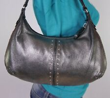 MICHAEL KORS Very Small Silver Leather Shoulder Hobo Tote Satchel Purse Bag