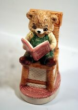 Cute Baby Bear Sitting in Mama Bear's Chair Reading a Book Ceramic Figurine 1991