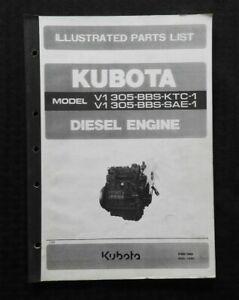 GENUINE KUBOTA V1305-BBS-KTC-1 V1305-BS-SAE-1 DIESEL ENGINE PARTS MANUAL CATALOG