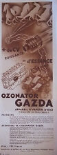 PUBLICITÉ DE PRESSE 1931 OZONATOR GAZDA APPAREIL A VAPEUR D'EAU - ADVERTISING