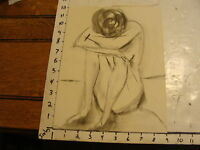 MARGE O'CONNELL drawing: charcoal: nude WOMAN SITTING HEAD DOWN ARMS CROSSED