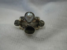 Lilly Barrack HandCrafted Sterling Silver 14K Yellow Gold Ring Size 7