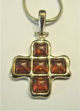 """STERLING SILVER AMBER  CROSS  PENDANT ON 16"""" SILVER SNAKE CHAIN"""