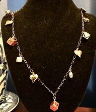 Betsey Johnson Charm Necklace School Girl Letter Blocks Hearts💕Crystal Nwot $65