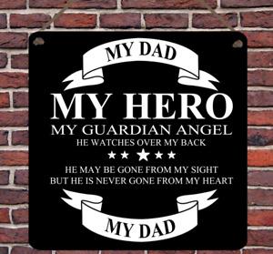 Personalised Hero Remembrance Guardian Angel Dad Grandad Metal Plaque Wall Sign