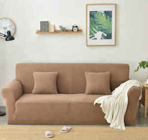 Elastic Stretch Soild Color Removable Slipcover  Protector Couch 1/2/3/4 Seater