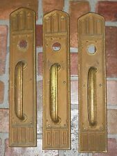 Antique Huge Gothic Door Handles and Backplates