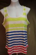 NEW Womens Tank Top Small Ladies Lime Blue Pink Striped Sleeveless Shirt Pocket