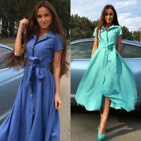 Elegant Office Dress Button Shirt Dress Summer Women Party Long Belt Dress Club