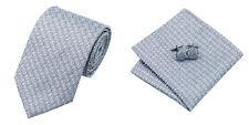 Black Gray Novelty 100% Silk Classic Mens Necktie Tie Hanky Cufflink Set NT226