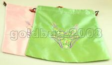 New Chinese Handmade 2Pcs Embroidered Flower Silk Clothes Pouch Shoes Bag