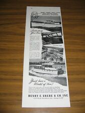 1955 Print Ad Grebe 57' Boats GM Diesel Power Chicago,IL