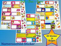 30-tlg. Sticker Bogen Namensschilder f. Schulhefte etc.,Beschriftungs Etiketten