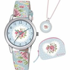 TNP ATK1024 Tikkers Girls Blue Floral Strap Watch With Matching Necklace & Purse