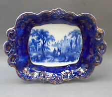 Vintage Flow Blue Bowl ~ Romantic Italian Scene ~ Staffordshire Pottery